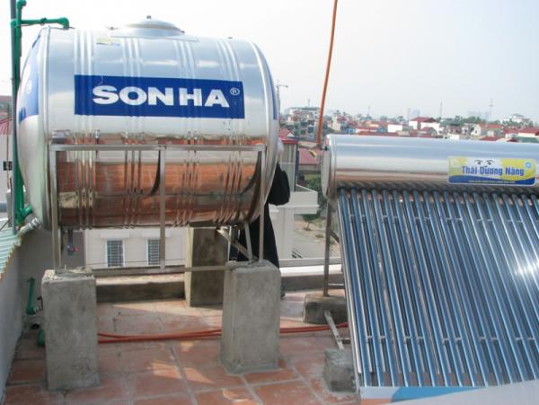 Bồn nước Inox Sơn Hà Ngang kết hợp trụ xây bê tông