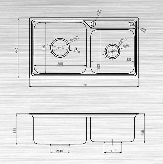 Kích thước sản phẩm Chậu rửa bát S80