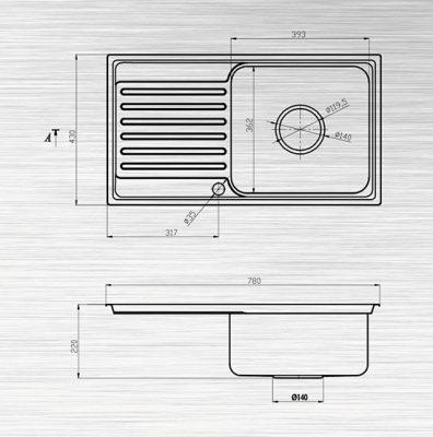 Kích thước kỹ thuật chậu rửa S78