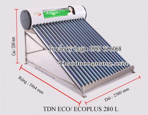 Kích thước sản phẩm Thái Dương Năng Eco Plus 280 lít