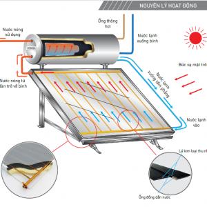 Sơ đồ nguyên lý hoạt động của Thái dương năng chịu áp lực Flat Gold 150 Lít Pressure FGP150