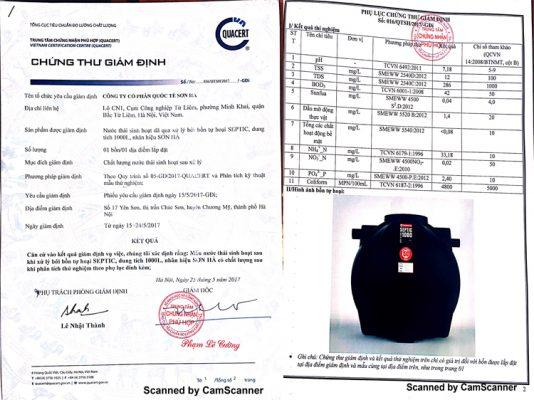Chứng thư giám định sản phẩm Bồn Septic Sơn Hà