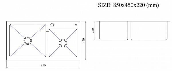 Kích thước cụ thể chậu rửa Nanosi 8545L