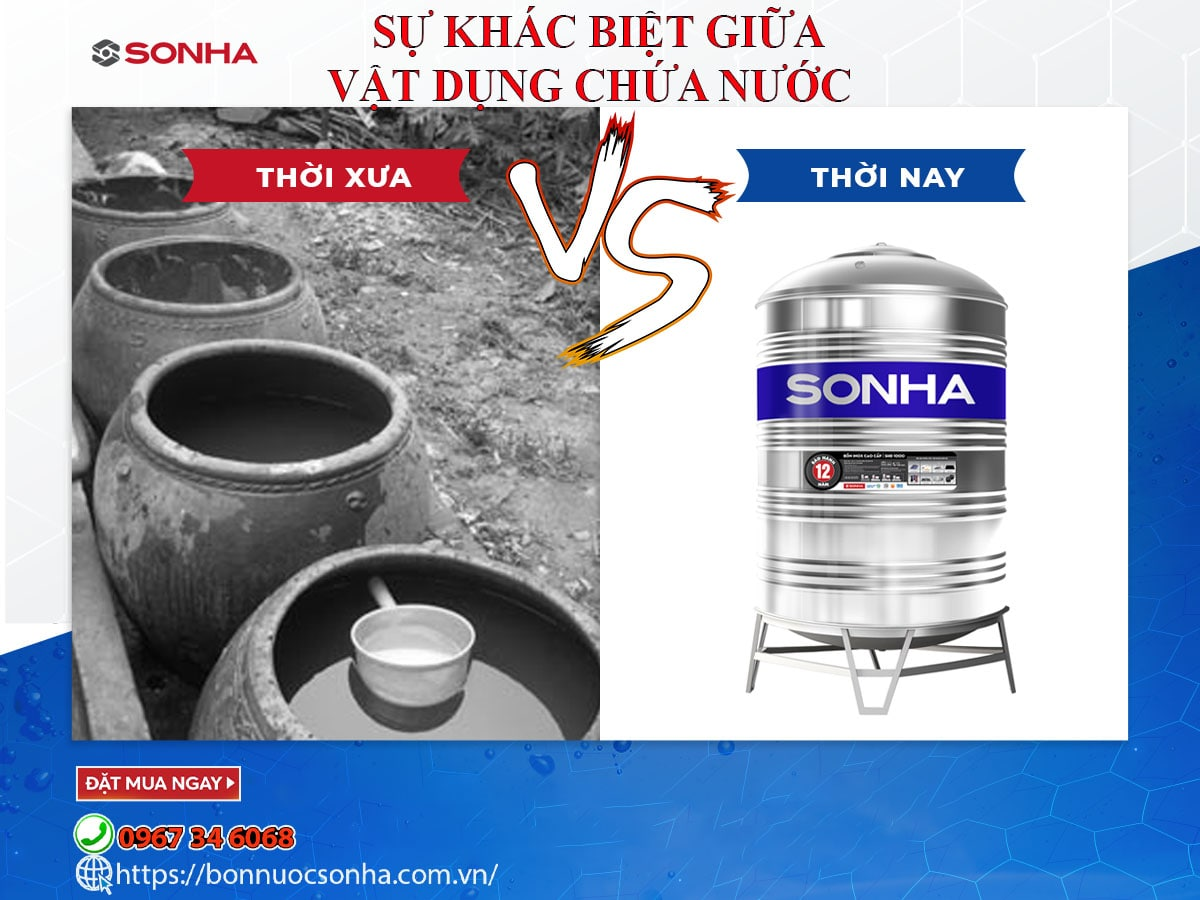 Su Khac Biet Giua Vat Dung Chua Nuoc Sinh Hoat Thoi Xua Va Nay Min
