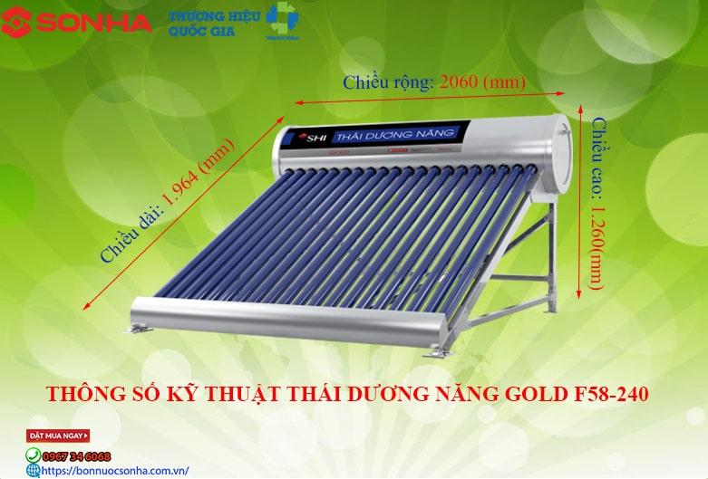 Thái Dương Năng GOLD 24 ống chân không - 240 lít