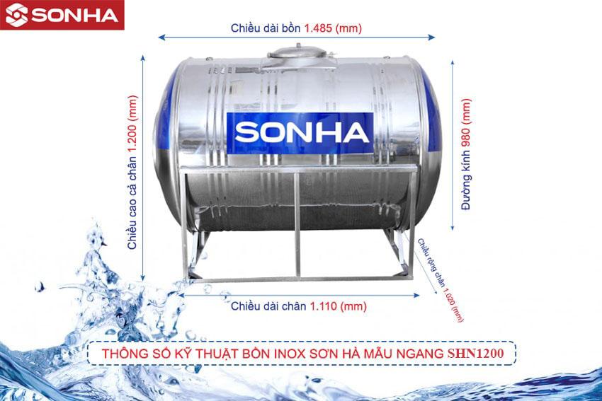 Bồn nước Inox Sơn Hà Ngang SHN1200 F980